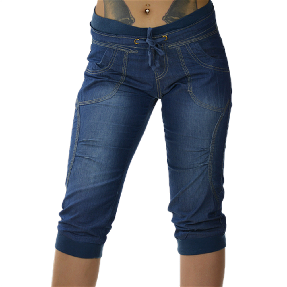 damen capri kurze hose jeans shorts damenhose bemuda sommer stretch gr 30 40 ebay. Black Bedroom Furniture Sets. Home Design Ideas