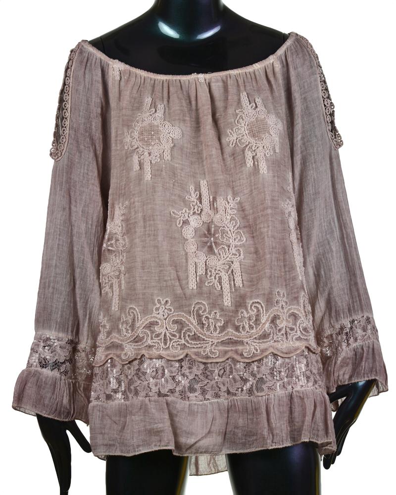 italy damen tunika hemd bluse vintage shirt top 36 38 40. Black Bedroom Furniture Sets. Home Design Ideas