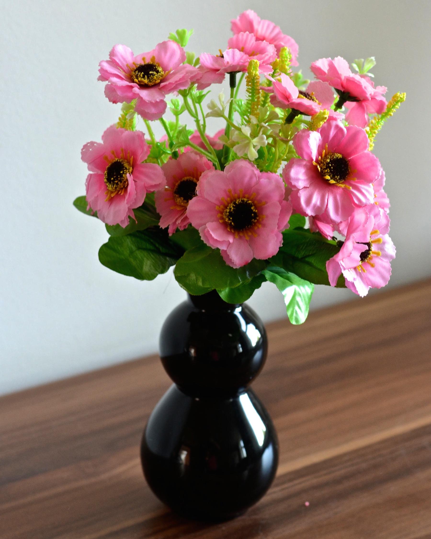 blumenstrau mit keramik vase kunstpflanze kunstblume dekoration tischgesteck ebay. Black Bedroom Furniture Sets. Home Design Ideas